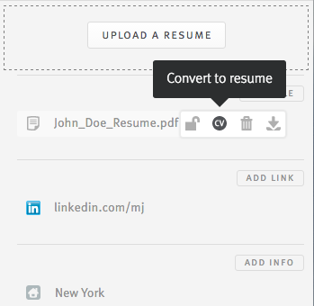 over the file and click the cv icon to include it as part of the resume section the same can be done to convert a resume file into a standard file